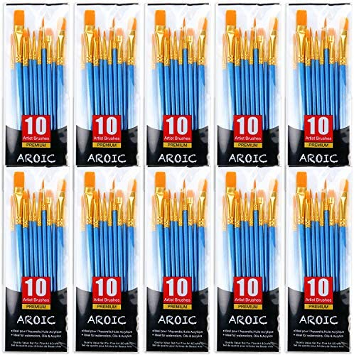 AROIC Painting Brush Set 10 Packs 100 Pieces Nylon Brush Head Suitable for Oil and Watercolor product image