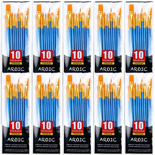 Painting Brush Set, 10 Packs /100 Pieces, Nylon Brush Head, Suitable for Oil and...