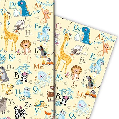 Traumhaftes Kinder Geschenkpapier Set (4 Bogen), Dekorpapier, Papier zum Einpacken mit Tieren und Alphabet, gelb, für tolle Geschenk Verpackung und Überraschungen 32 x 48cm