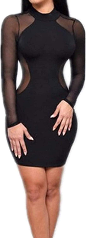 SISAVE Women Casual Hollow Out Slim Dress Long Sleeve Gauze Nightclub Bodycon
