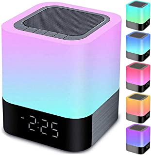 Night Lights Bluetooth Speaker, Alarm Clock Bluetooth Speaker Touch Sensor Bedside Lamp Dimmable Multi-Color Changing Beds...