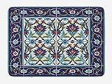 Gjid Alfombra de baño con Motivos turcos Azulejos de Mosaico inspirados en la Naturaleza Tulipanes y Margaritas rizadas Alfombrillas de Villa Alfombra de Estudio Tela de Franela Antideslizante