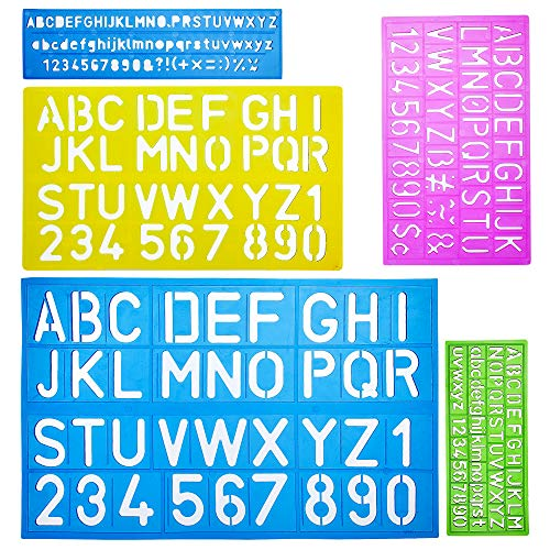 Mr. Pen Letters and Numbers Alphabet Templates, Letter Stencils, Pack of 5
