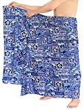 LA LEELA Mens tropischen Badeanzug Schwimmen Pareo Wickelkleid Strand Vertuschungen Sarong Bade Blau_F323 eine Größe: Länge: 72' Breite: 42'