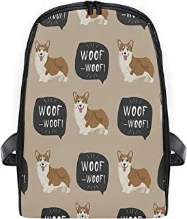 ZZXXB Corgi Dog Woof Backpack Kids Toddler Child Preschool Kindergarten Waterproof Book Bags Travel Daypack for Boys and Girls