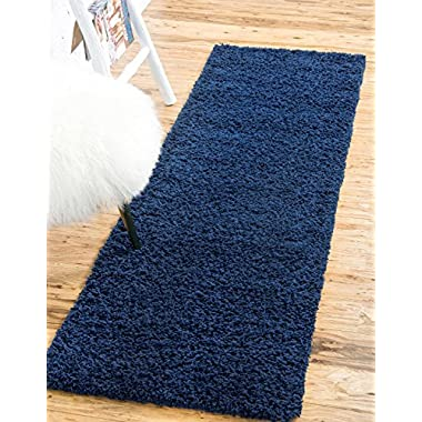 Unique Loom Solo Solid Shag Collection Modern Plush Navy Blue Runner (3' x 10')