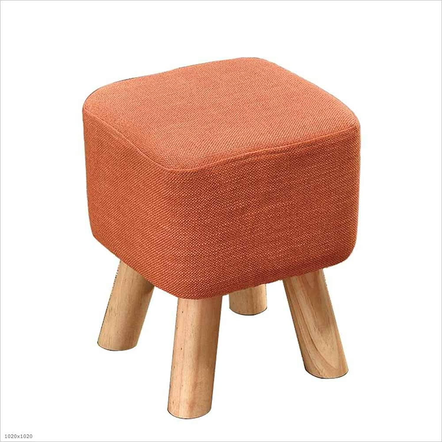 Sofa Stool Fabric Solid Wood Heightening Stool Living Room Bedroom Change shoes Bench Stool 28×28×34Cm, 2