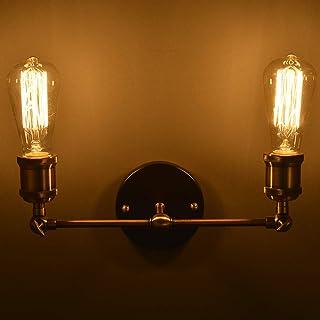 Lámparas De Pared Aplique Vintage E27 De Latón Ajustable Aplique de interior Industrial De Pared Per Dormitorio Bar Restaurantes-Lámpara Doble