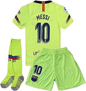 #10 Messi Barcelona Away 2018-2019 Season Kids or Youth Soccer Jerseys & Shorts & Socks Green