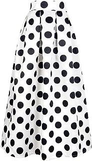 CHOiES record your inspired fashion Women's White Contrast Polka Dot Print Maxi Skirt