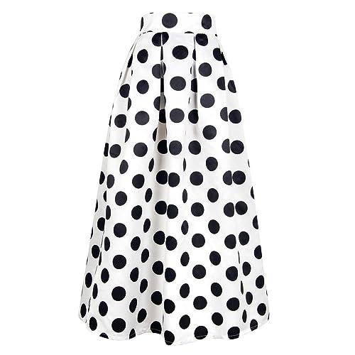 f5e284eb79c2f CHOiES record your inspired fashion Women s White Contrast Polka Dot Print Maxi  Skirt