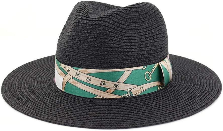 GR Women Men Summer Wide Brim Toquilla Straw Panama Sun Hat for Elegant Lady Gentleman Gangster Trilby Fedora Beach Dad Cap (Color : Black, Size : 56-58CM)
