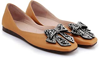 HWF レディースシューズ 女性の靴フラットサマーの学生の女性の快適なシングルシューズ ( 色 : イエロー いえろ゜ , サイズ さいず : 34 )