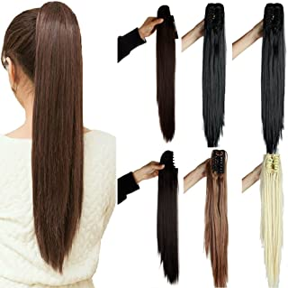 Claw Ponytail Extension Ombre Straight Jaw Ponytails Pony Tail Hairpiece Clip in Hair Extensions Real Natural as Human Synthetic Fibre for Women 145G Thick Long 21 inch bleach blonde