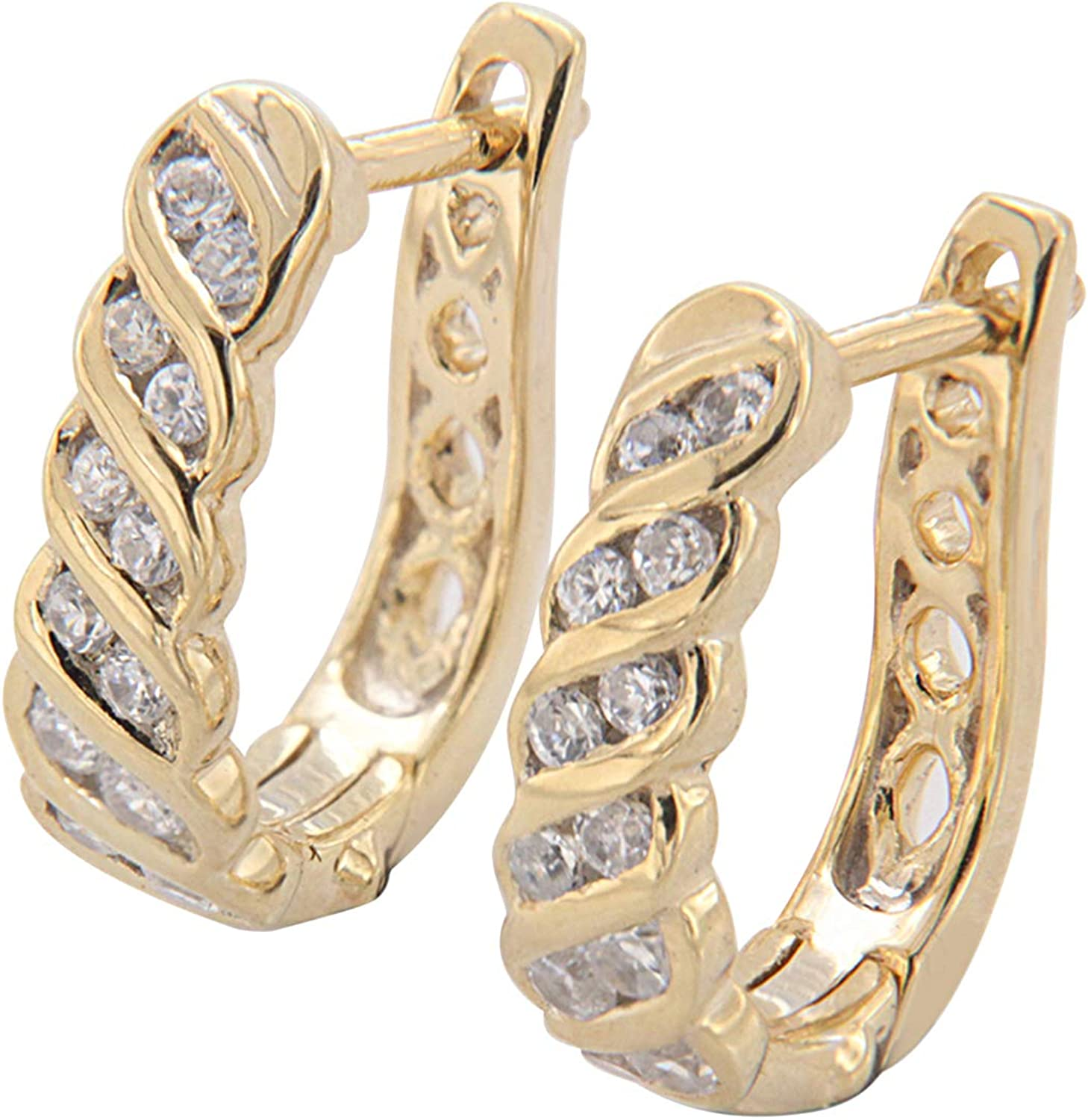 1 Ct Bezel Set Round cut Micro Pave Simulated Diamond Real 14k Yellow Gold Hoop Earring's with Cubic Zirconia