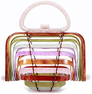 Bag for Women Fashion Women's Acrylic Weave Color Cutout Tote Beach Seaside Resort Bamboo Basket Folded Shell Semicircle Bag (Color : Multi-Colored)
