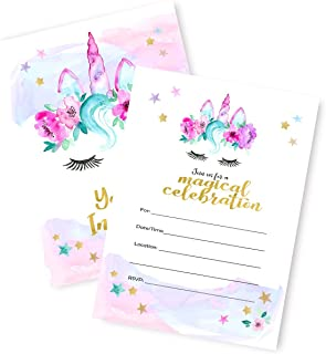Magical Unicorn Invitations | Large | 12 Invitations + 12 Envelopes | Double Sided | Watercolor with Digital Gold by Tinselbox | Kids Party | Baby Shower | Bridal Shower