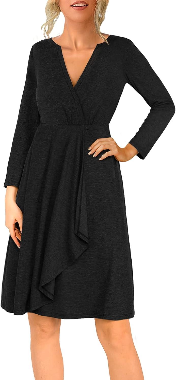 Amoretu Womens V Neck Long Sleeve Tunic Dress Irregular Ruffles Hem Midi Dress