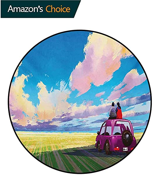 Country Modern Machine Washable Round Bath Mat Young Couple Sitting On Car In Front Of Dramatic Landscape Farmhouse Soul Mates Print Non Slip Living Room Soft Floor Mat Diameter 59 Inch
