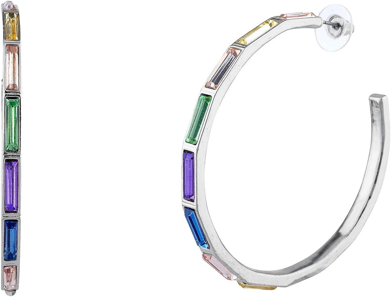 Nicole Miller New York Baguette Hoop Earrings Rainbow