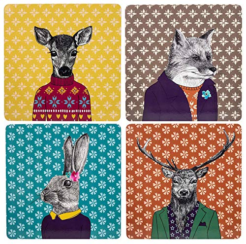 English Tableware Set of 4 After Dark Woodland Creatures Square Cork-Backed Placemats, Mixed Designs