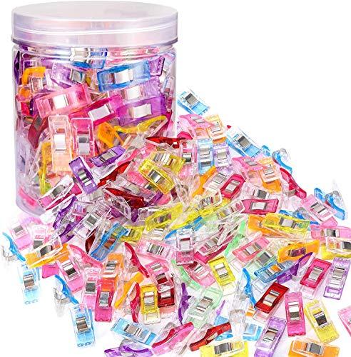 YKKJ 100 stycken sömnad klämmor tyg klämmor sy klämmor plastklämmor färgade sydda plastklämmor plast med förvaringslåda, för quiltningsklämma, virka, pysselklämmor syuppsättningar
