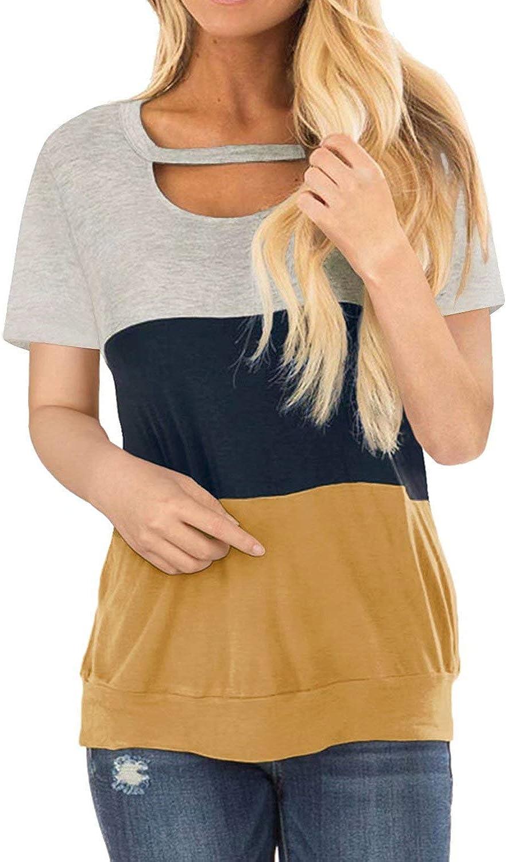 Women's Shirts Color Block Chest Cutout Tunics Short Sleeve Scoop Neck Blouse Casual Loose Fit Sweatshirt Tops