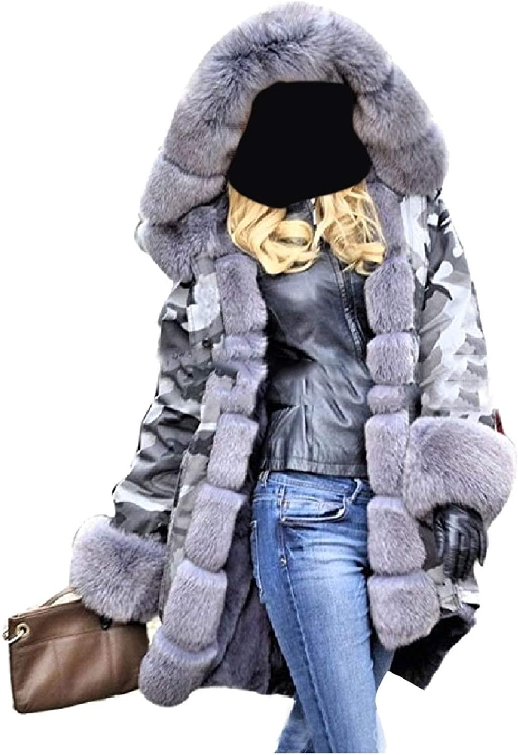 Coolhere Women with Faux Fur Hood Camo Military Style Coats Parkas Jackets