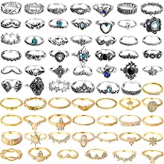 👑PACKAGE INCLUDE - 69 pcs knuckle rings in total. Different styles can be match with a wide variety of clothes, affordable price and quality workmanship. 💍MULTIPLE SIZE - Each vintage engraving pattern is designed in different sizes to suit your fing...