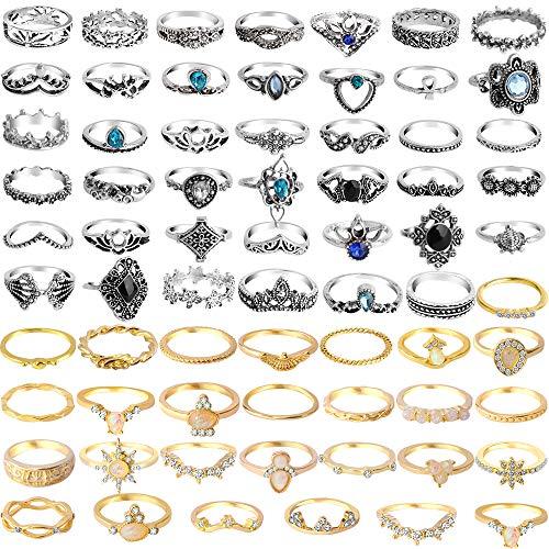 ONESING 69 Pcs Knuckle Rings for Women Stackable Rings Set Girls Bohemian Retro Vintage Joint Finger Gold Rings for Women Men Hollow Carved Flowers