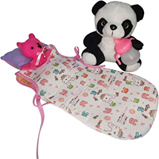 Huang Cheng New Brand Pack of 5pcs Doll Accessories Panda Pillow Bottle Sleeping Bag for 8 10 12inch Doll American Doll Alive Doll for Girl Gifts