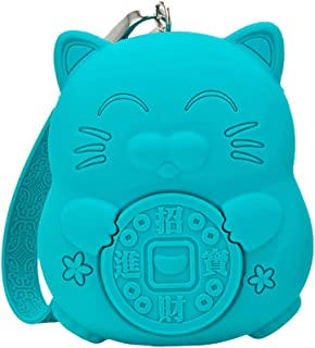 Meta-U Squishy Silicone Coin Purse - Portable and Large Capacity Keys Case - Candy Color Lucky Cat | Peony Flower