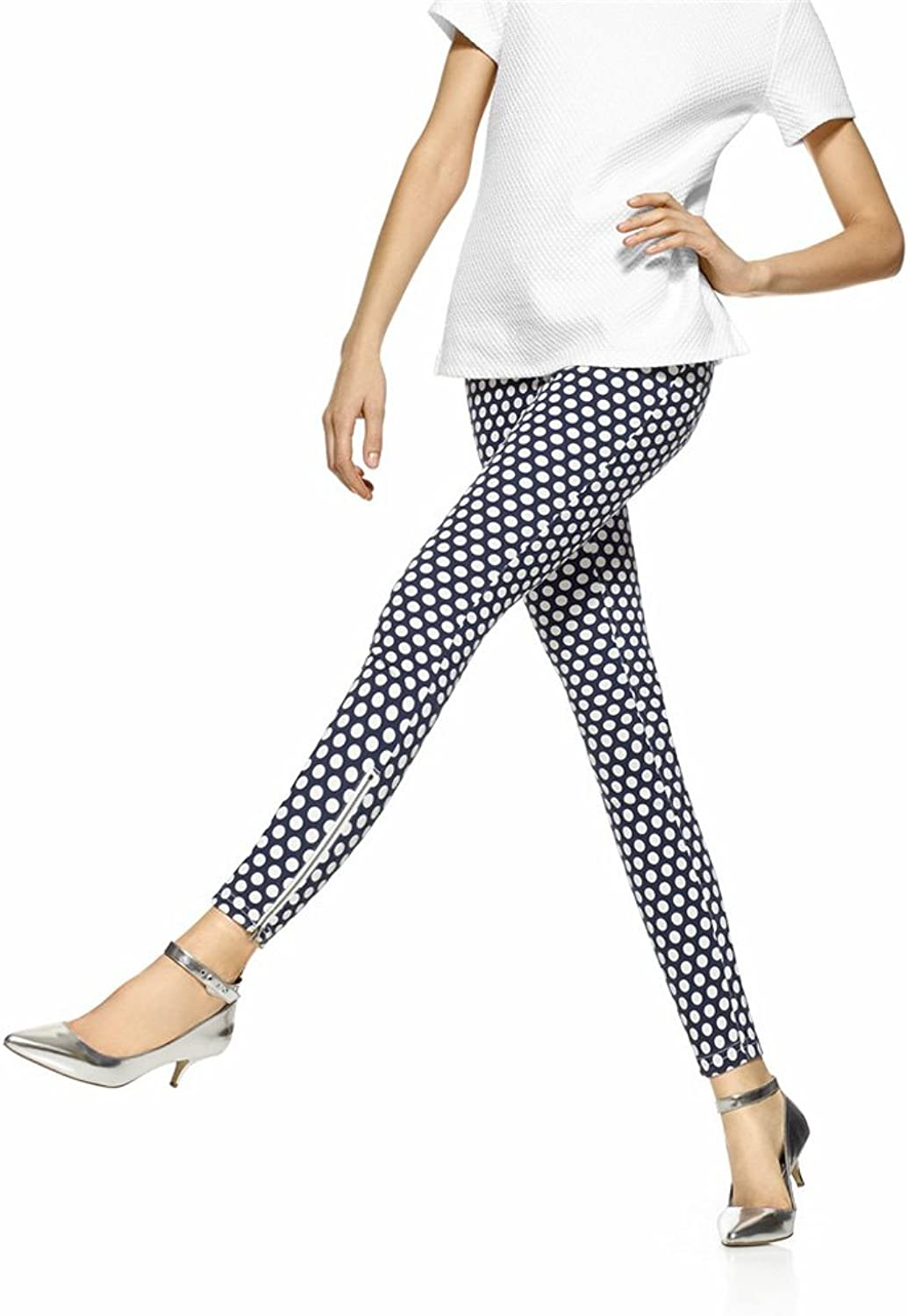 Hue Womens Dot Print Super Smooth Denim Skimmer Legging