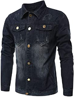 MogogN Mens Plus-Size Buttons up Long Sleeve Ripped Solid Classic Jean Coats