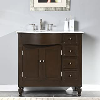 Silkroad Exclusive HYP-0902-WM-UWC-38-L White Marble Top Left Sink Bathroom Vanity with Furniture Cabinet, 38