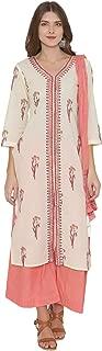 PINKSHINK Women's Ready to Wear White Pure Cotton Indian/Pakistani Salwar Kameez Dupatta