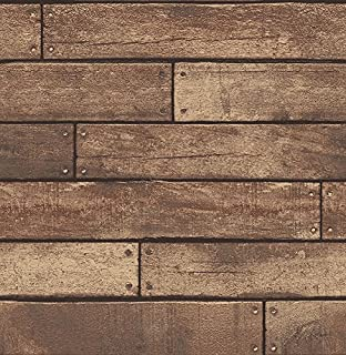 Brewster Wallcovering Co FD23277 Weathered Brown Nailhead Plank Wallpaper,