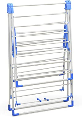 MANGO BLOSSOM Long Cloth Drying Stand / Rack   Powder Coated Non Corrosion MS Steel with ABS Plastic   White   Set of 1