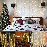 Led Lichtervorhang für Weihnachten 300 leds sterne Lichterkette weihnachtsdeko Innen Außen Garten Fenster deko Innenbeleuchtung warmweiß 3x3m - 5