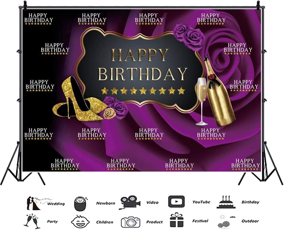 CSFOTO 12x8ft Happy Birthday Backdrop for Women Birthday Party Black Purple Rose Golden Stars Champagne Glitter High Heels Shoes Background for Photography Vinyl Wallpaper