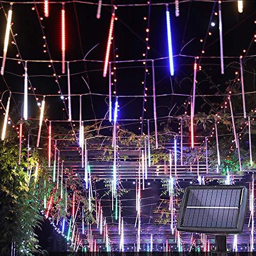 Solar Lights Tree Outdoor 10 Tubes Waterproof Meteor Shower Rain Lights Falling Rain Drop Christmas Light Cascading String Lights for Holiday Party Wedding Xmas Decoration (Multicolor)