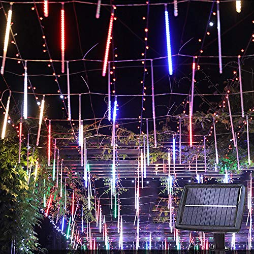 Solar Lights Tree Outdoor 10 Tubes Waterproof Meteor Shower Rain Lights Falling Rain Drop Christmas Light Cascading String Lights for Holiday Party Wedding Xmas Decoration (Multicolor)