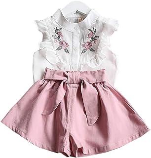 CASUALBOYS Camiseta Sin Mangas con Bordados Bordados De Niña De 2 Piezas + Pantalones Cortos Lindos Pink-100
