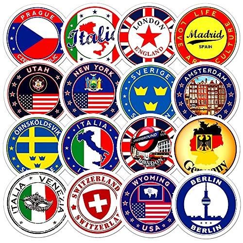 XXCKA 60 Piezas Material Logo Pegatina Personalizada Banderas Nacionales Pegatinas Juguetes DIY Scrapbooking Maleta Coche Bandera Logo Sellado de Sobres