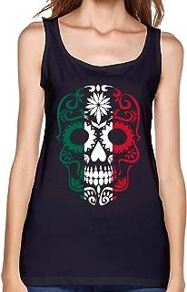 Mexico Flag Sugar Skull Womens Singlet Casual Summer Sleeveless T-Shirts for Women