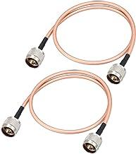 sourcing map RF Cable coaxial de Conexión de Baja pérdida RG-142 Macho N a Macho N 60cm 2uds