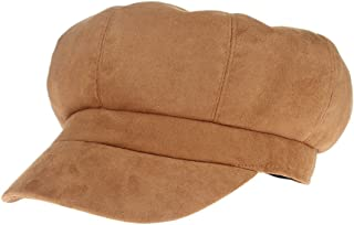 GEMVIE Autumn Winter Beret Hats for Women Suede Octagonal Newsboy Cap