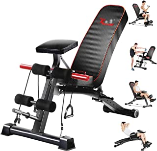 Folding weight table supine board multi-function abdominal muscles back fitness equipment home abdomen sports chair dumbbe...