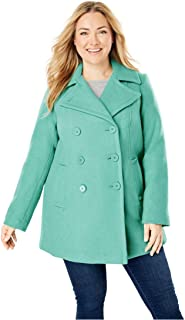5e45d472697 Woman Within Plus Size Wool-Blend Double-Breasted Peacoat