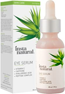 InstaNatural Eye Serum for Dark Circles & Puffiness, Reduces Bags, Wrinkles, Fine Lines, Sagging Skin & Puffy Eyes 1 Fl Oz